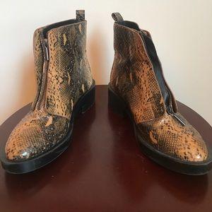 ZARA Trafaluc zip up snake skin chunky heel boot